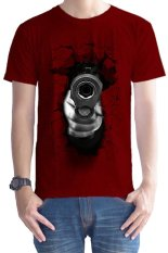 T-Shirt Glory Kaos 3D Shoot Accuracy Maroon - Merah Maroon