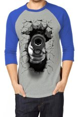 T-Shirt Glory Kaos 3D Shoot Accuracy Raglan Abu Biru - Abu Biru