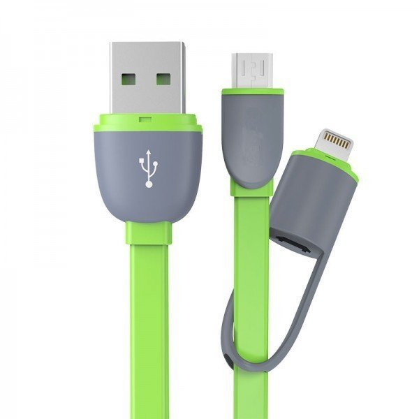T4shops Smart Data Cable 2 in 1 Lightning & Micro USB 100cm - Hijau