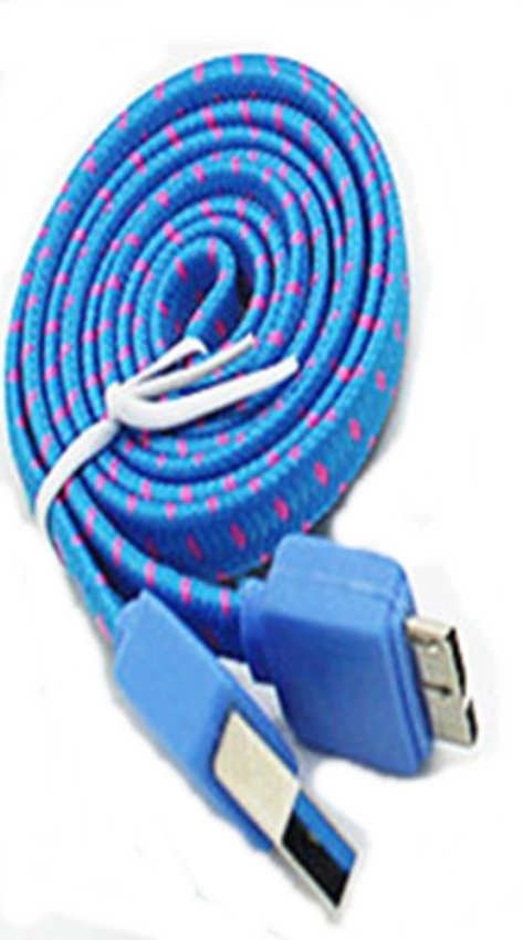 Taff Flat Braided Micro USB 3.0 Charging SYNC Cable For Galaxy Note 3/4 - Biru