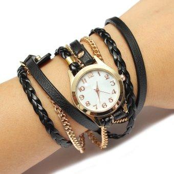 Teamtop Vintage PU Leahter Weave Strap Women Analog Bracelet Watch - Intl