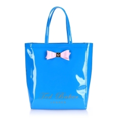 Ted Baker Fashion Waterproof Jelly Pack Vertical Section Shopping Bag Handbag Tote Bag- Blue (Large)