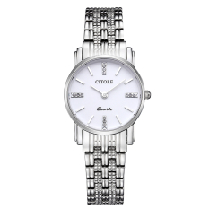 Telimei Counter Genuine Diamond Ladies Watch Thin Strip West Teng Simple Quartz Watch Business Watch Waterproof S5061