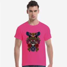 The Beijing Opera People Face Cotton Soft Men Short T-Shirt (Rose) - Intl