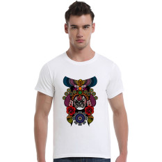 The Beijing Opera People Face Cotton Soft Men Short T-Shirt (White) - Intl