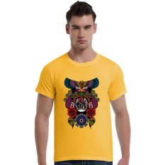 The Beijing Opera People Face Cotton Soft Men Short T-Shirt (Yellow) - Intl