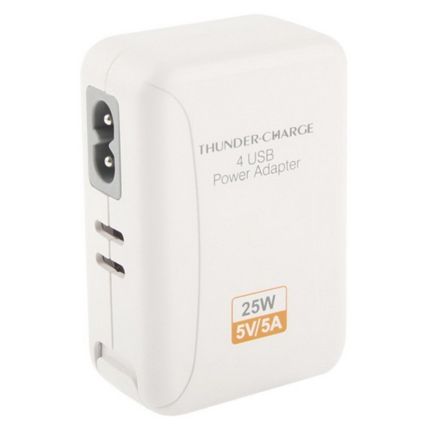 Thunder Traveler Charger 4 USB Port 5V 2A with 4 Interchangeable Plugs - Putih