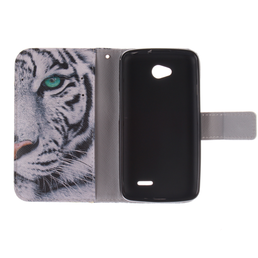 Tiger Double Painting Filp Leather Cover Built in Card Slot for LG L70 (White) (Intl)