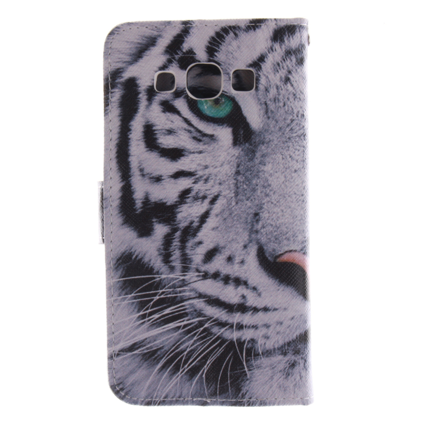 Tiger Double Painting Filp Leather Cover for Samsung Galaxy E5 (White/Black) (Intl)