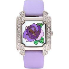 Time100 Ladies' Diamond Rose Pattern Dial Purple Leather Strap Fashion Wrist Watches W50040L.03A - Intl