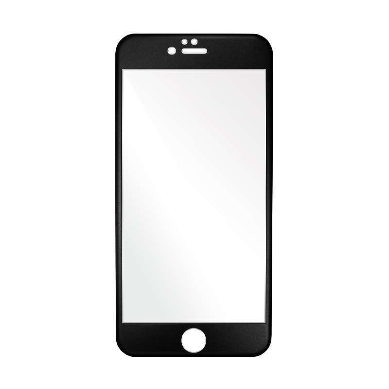 Titanium Alloy Full Colour Tempered Glass Front + Back for iPhone 6 Plus/6s Plus - Hitam