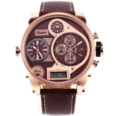 Top DZ Brand Luxury Oulm Men 3 Time Zone Big Dial Watch Japan Movt Hours Quartz Sports Wristwatch Military Relojes (Brown)