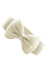 Toprank Artistic Beauty Fashion Sweet Women's Bowknot Elastic Bow Wide Stretch With Waistband Wide Elastic Belt#10 (Beige)
