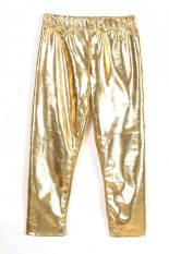 Toprank Autumn Fashion Solid Baby Synthetic Leather Pants Childrens Pants Girls Kids Leggings Baby Pantyhose (Gold)
