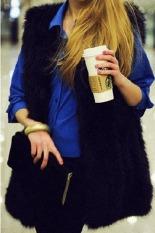 Toprank Chic Lady Faux Fur Vest Winter Warm Coat Outwear Long Hair Sleeveless Jacket Waistcoat (Black)