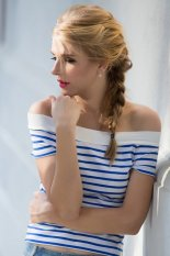 Toprank High Street Women Summer Casual Short Sleeve Off Shoulder Stripe T Shirt Woman Female Slim T-Shirt Tops (Blue)