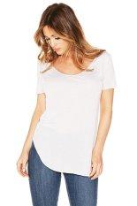 Toprank Lady Summer Women Casual T-Shirt Short Sleeve Irregular Plus Size T-Shirt (White)