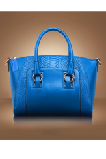 Toprank Leather Lady Handbag Shoulder Bag Tote 6 Purse Women Messenger Bag (Blue)