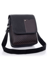 Toprank Pu Leather Men Bag Fashion Men Messenger Bag Small Business Crossbody Shoulder Bags (Black)