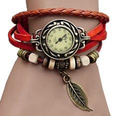 Toprank Synthetic Leather Quartz Bracelet Women Wrist Watch (Red) - Intl