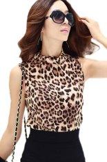 Toprank T Shirt Slim Tops Leopard Print Sleeveless Tops Women Tops Turn-Down Collar New Arrivel (Multicolor)