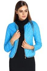 Toprank Wadded Jacket Outerwear Female Winter Women Short Cotton-Padded Jacket Slim Small Cotton-Padded Jacket (Blue)