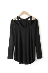 Toprank Women Bottoming Shirt Women Off Shoulder Long Sleeve Ladies T-Shirt Women Tops V Neck Sexy Shirt (Black) - Intl