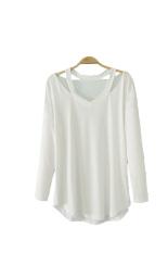 Toprank Women Bottoming Shirt Women Off Shoulder Long Sleeve Ladies T-Shirt Women Tops V Neck Sexy Shirt (White) - Intl