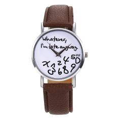 Toprank Women Synthetic Leather Large Dial Letter Quartz Analog Wrist Watch (Black)