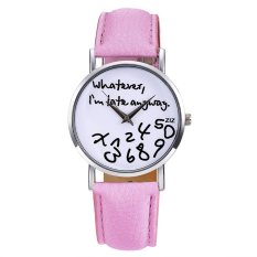Toprank Women Synthetic Leather Large Dial Letter Quartz Analog Wrist Watch (Pink)