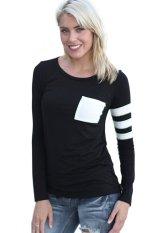 Toprank Women T-Shirt Long Sleeve T Shirt Women Tops Slim Casual Top Shirts Women Clothing Plus Size (Black)