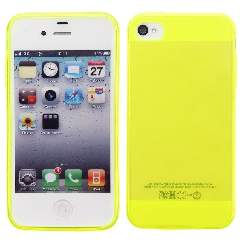 TPU Back Cover With Dust Plug for iPhone 4 4S (Yellow)