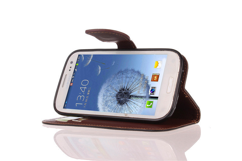 TPU Flip Leather Wallet Cover with Card Slot Holder for Samsung Galaxy S3 (Black) (Intl)