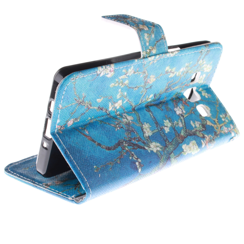 Trees Double Painting Filp Leather Cover for Samsung Galaxy Alpha G850 (Blue) (Intl)