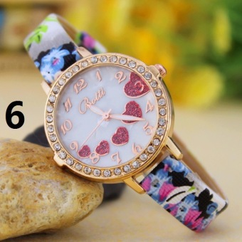 Trend Of Korean Hot New Love Beautiful Heart-shaped Diamond Ladies Fashion Belts Ladies Quartz Watch Table - Intl