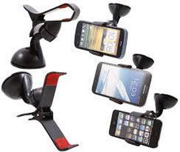 Trend's Car Holder 360° Rotating Universal Windshield Mount Stand Dudukan Free 2 pcs Car Charger Mobil - Putih