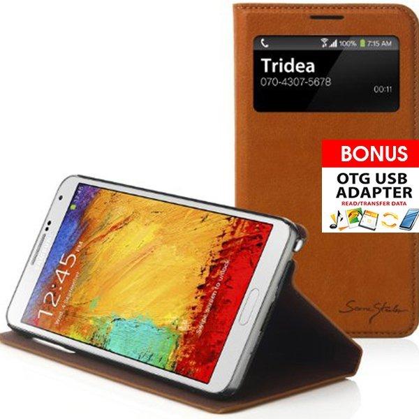 Tridea Galaxy Note 3 Case CP SVIEW Italian Flip Cover - Cokelat
