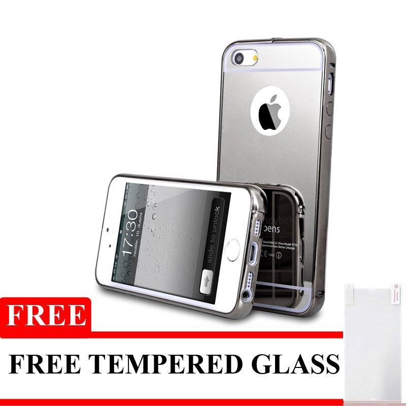 Twins Softcase Mirror For Iphone SE / 5S / 5 - Hitam + Gratis Tempered