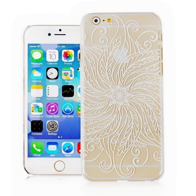 Twist Vintage Flower Pattern Fashion Luxury Phone Back Case for Apple iPhone 6 4.7 inch (White/Clear) (Intl)