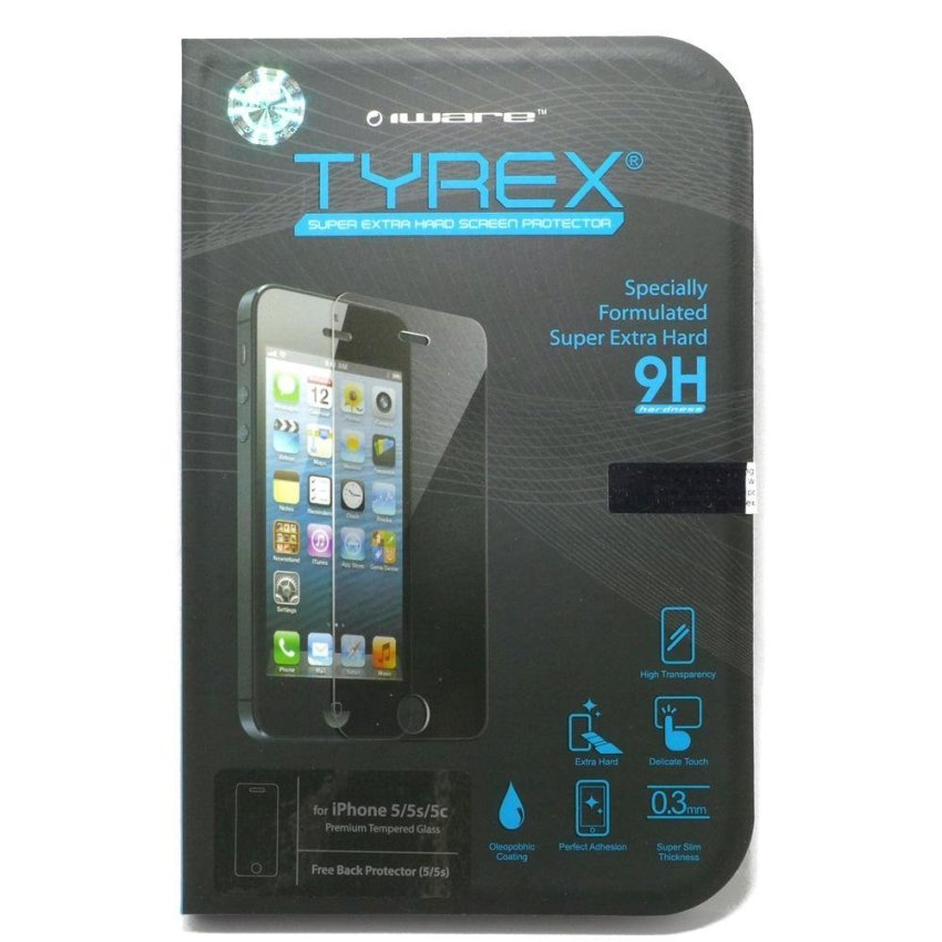 Tyrex + Garansi iPhone SE / 5S / 5 Tempered Glass Screen Protector (Free Plastic Back Protector)