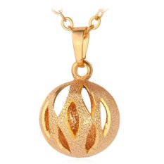 U7 Cute Hollow Ball Pendant Necklace 18K Real Gold Plated Fashion Women Jewelry (Gold) (Intl)