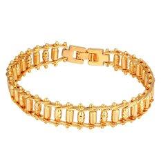 U7 Punk Bike Chain Bracelet 18K Real Gold Plated Fashion Men Jewelry (Gold) (Intl)
