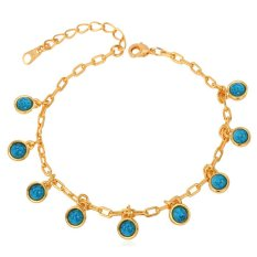 U7 Sexy Turquoise Adjustable Chain Bracelet For Women 18K Real Gold Plated Fashion Jewelry (Gold) (Intl)