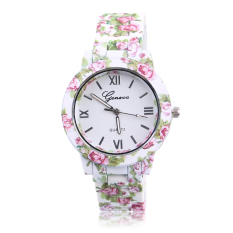 UINN Stainless Steel New Fashion Floral Rose Flower Style Woman Quartz Watch