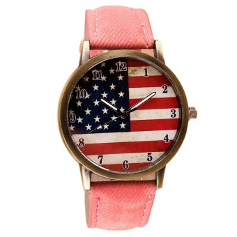UJS American Flag Pattern Leather Band Analog Quartz Vogue Wrist Watches Pink