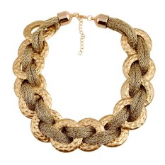 UJS Fashion Accessories Womens Fashion Cotton Rope Wrapped Around A Largold Ring Acrylic Plastic Golden Necklace (Intl)