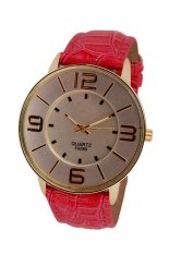 UJS Fashion Numerals Gold Dial Womens Hot Pink Leather Strap Quartz Wrist Watch