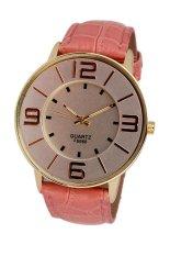 UJS Fashion Numerals Gold Dial Womens Pink Leather Strap Quartz Wrist Watch