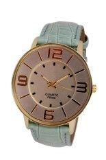 UJS Fashion Numerals Gold Dial Womens Sky Blue Leather Strap Quartz Wrist Watch