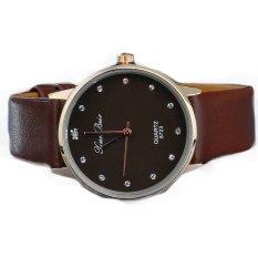 UJS Imitation Diamond Setting Golden Case Watch Ladies Wrist Quartz Watches Dress Watch (Brown)